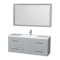 "Olivia 60"" Vanity, 58"" Mirror Acrylic-Resin Top, Integrated Sink, Dove Gray"