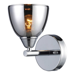 Art Deco 1 Light Sconce In Polished Chrome Finish Contemporary Wall Sconces By Ownax Vaasuhomes