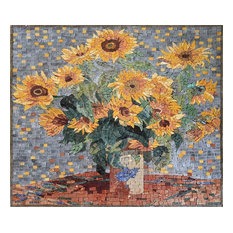 "Claude Monet Sunflowers"", Mosaic Reproduction, 26""x30"""
