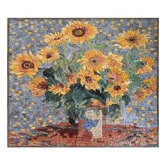 "Claude Monet Sunflowers"", Mosaic Reproduction, 26""x30"""