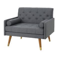 Nour Fabric Mid-Century Modern Club Chair, Dark Gray/Dark Walnut