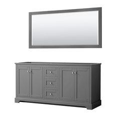 Avery 72-inch Dark Gray Double Vanity No Countertop No Sinks 70-inch Mirror