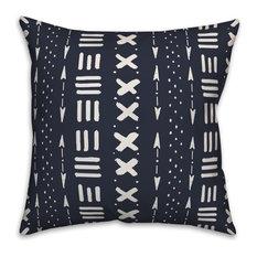Navy Tribal Mudcloth Pattern 16x16 Throw Pillow
