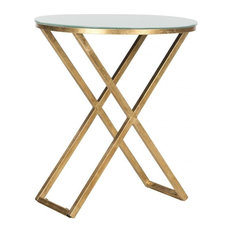 Safavieh Riona Accent Table Gold White Glass Top