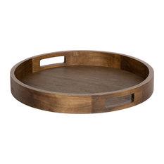 """Hutton Round Wood Tray, Brown 18"""" Diameter"""
