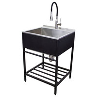 """Transolid 25""""x22"""" Stainless Steel Laundry Sink With Wash Stand, Matte Black"""
