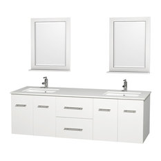 "Centra 72"" Double Bathroom Vanity, White, White Shone Top"