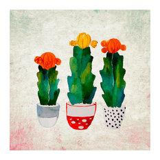 """Cactus Cacti Flowers Floral 2, 14""""H x 14""""W x 0.1""""D"""