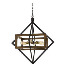 "Venosa 37.25"" Metal and Wood Construction Chandelier, Metal and Wood"