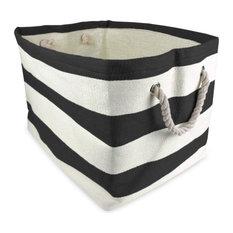 Rectangle Paper Bin, Stripe Black