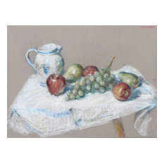 "Thomas Strickland ""Still Life With Fruit and Pitcher"" Pastel Drawing"