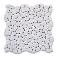 "12""x12"" Thassos White River Rocks Pebble Stone Mosaic Tile Tumbled"