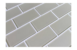 Sheep's Wool Beige Glass Subway Tile, Sample