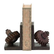 Rusted Gear Themed Bookends Set