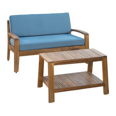 GDF Studio Christian Outdoor Acacia Wood Loveseat/Coffee Set, Teak Finish/Blue