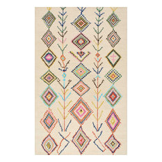 "Hand-Tufted Bohemian Moroccan Diamond Rug, Ivory, 2'6""x12' Runner"