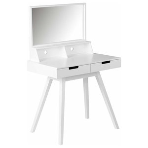 Modern Dressing Table, White Painted MDF With Square Mirror and 2 Drawers