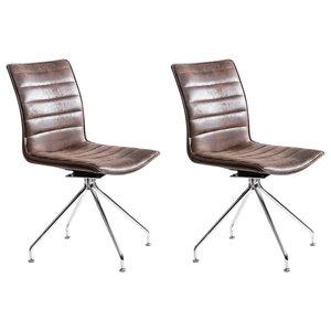 Savona Swivel Dining Chairs, Set of 2, Vintage Brown