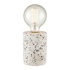 Terraz Table Lamp, Gray and White Open Concept Boho Design With No Shade