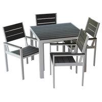 5-Piece Winston Outdoor Patio Dining Set White Aluminum Frame, Gray