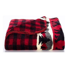 "Bear Plaid Red Microplush Single Blanket, 50""x60"""