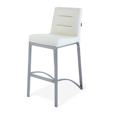 Lynx Counter Height Contemporary Stool With Metal Base, Cream