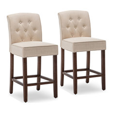 """BELLEZE 40"""" Upholstered Barstool Counter Height Dining Chair Set of 2, Nature"""