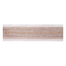 "4""x5 yd. Rose Gold Cr yd.stal Ivor yd. Dupion Wired Ribbon"