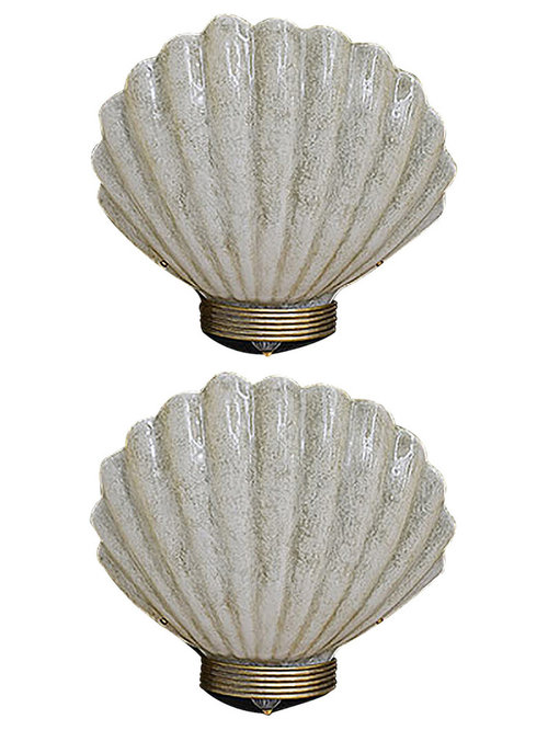 Pair Of Italian Murano Glass Large Clam Shell Sconces   Wall Sconces