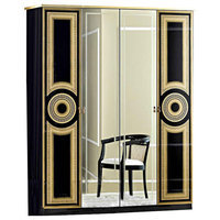 ESF Aida 4-Door Wardrobe, Black With Gold