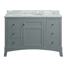 "Eviva New York 42"" Gray Bathroom Vanity, with White Marble Carrera Top, & Sink"
