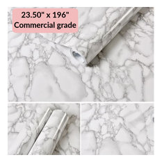 """White Marble Commercial Grade Contact Paper Self Adhesive Removable 24"""" x 16 ft"""