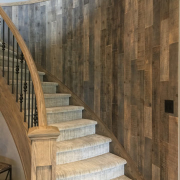 Distressed Wood Planks - Curved Staircase and Feature Wall - Brown-Ish