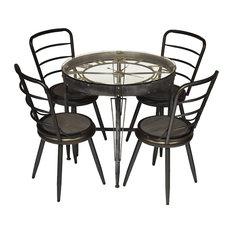 Contemporary Big Ben Dining Set Clock Design Iron Wood Glass Convertible Chair