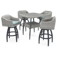 Cannes 5-Piece Outdoor Bar Stool Set by RST Brands, Spa Blue