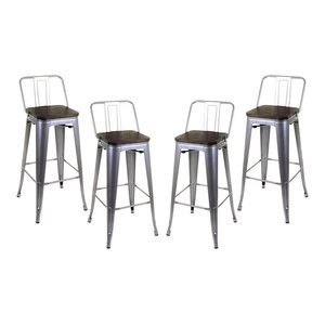 Industrial Stylish Bar Stools, Metal Frame, Silver, Set of 4