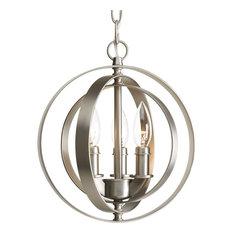 Progress Lighting Equinox 3-Light, Sphere Pendant, Burnished Silver