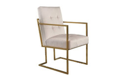 Abbyson Living Morris Velvet Arm Chair, Ivory