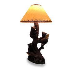 zeckos three playful bear cubs climbing a tree decorative lamp and shade table lamps