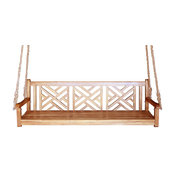 Teak Wood Chippendale Triple Swing with Hanging Ropes Included