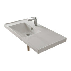 scarabeo ceramiche rectangular ceramic wallmounted bathroom sink white 1 hole