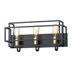 Liner 3-Light Bath Vanity in Black / Satin Brass