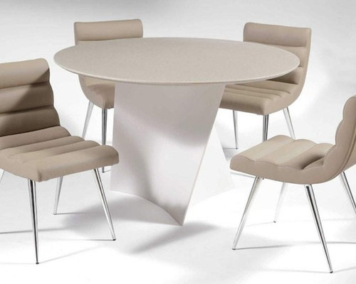 Elegant Round Leather Breakfast Table Sets And Chairs   Dining Tables