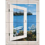 "The Tile Mural Store (USA) - Tile Mural, Bay Window Vista I by Diane Romanello - *12 Tile Mural on 6"" ceramic satin finish tiles.  AMERICAN MADE !!"