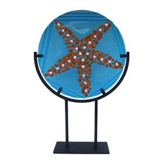 """""""Jamaican Waters"""" Handcrafted Fused Glass Art Deco Sculpture With Metal Stand"""