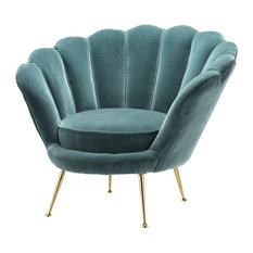 Turquoise Shell Shaped Chair, Eichholtz Trapezium, Green