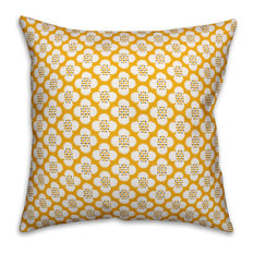 """Yellow Floral Pattern Outdoor Throw Pillow, 16""""x16"""""""
