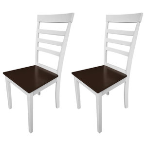 vidaXL Solid Wood Dining Chairs, Brown and White, Set of 2