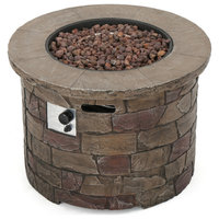 GDF Studio Stonecrest Outdoor Circular Fire Table, Natural Stone/Round