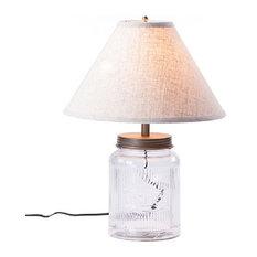Large Ribbed Mason Jar Table Lamp With Linen Shade